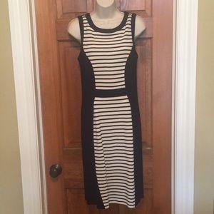 Yoana Baraschi stretch navy/ivory striped dress